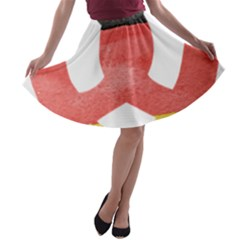Pretzel in Hand-Painted Water Colors of German Flag A-line Skater Skirt