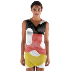 Pretzel in Hand-Painted Water Colors of German Flag Wrap Front Bodycon Dress