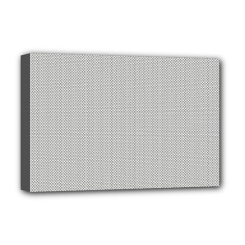 Grey And White Simulated Carbon Fiber Deluxe Canvas 18  X 12