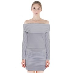 Grey and White simulated Carbon Fiber Long Sleeve Off Shoulder Dress