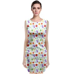 Decorative Spring Flower Pattern Classic Sleeveless Midi Dress