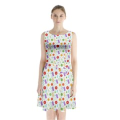 Decorative Spring Flower Pattern Sleeveless Chiffon Waist Tie Dress