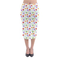 Decorative Spring Flower Pattern Midi Pencil Skirt