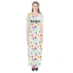 Decorative Spring Flower Pattern Short Sleeve Maxi Dress