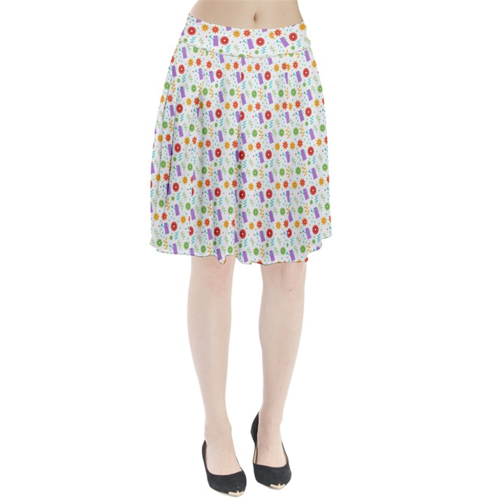 Decorative Spring Flower Pattern Pleated Skirt