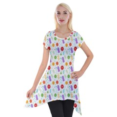 Decorative Spring Flower Pattern Short Sleeve Side Drop Tunic
