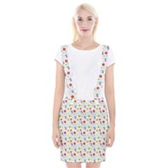 Decorative Spring Flower Pattern Suspender Skirt