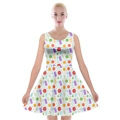 Decorative Spring Flower Pattern Velvet Skater Dress