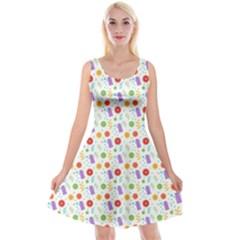 Decorative Spring Flower Pattern Reversible Velvet Sleeveless Dress