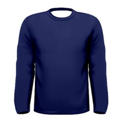 Classic Navy Blue Solid Color Men s Long Sleeve Tee