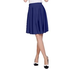 Classic Navy Blue Solid Color A-Line Skirt