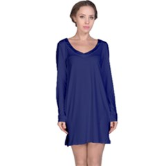 Classic Navy Blue Solid Color Long Sleeve Nightdress