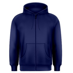 Classic Navy Blue Solid Color Men s Zipper Hoodie