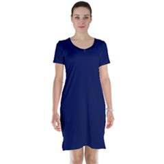 Classic Navy Blue Solid Color Short Sleeve Nightdress
