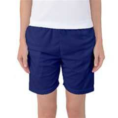 Classic Navy Blue Solid Color Women s Basketball Shorts