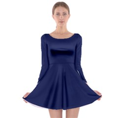 Classic Navy Blue Solid Color Long Sleeve Skater Dress