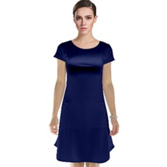 Classic Navy Blue Solid Color Cap Sleeve Nightdress
