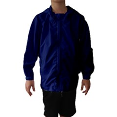 Classic Navy Blue Solid Color Hooded Wind Breaker (Kids)