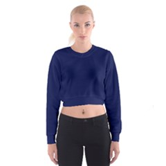 Classic Navy Blue Solid Color Women s Cropped Sweatshirt