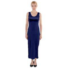 Classic Navy Blue Solid Color Fitted Maxi Dress