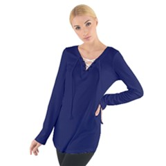 Classic Navy Blue Solid Color Women s Tie Up Tee