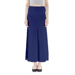 Classic Navy Blue Solid Color Maxi Skirts