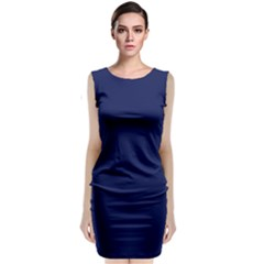 Classic Navy Blue Solid Color Classic Sleeveless Midi Dress