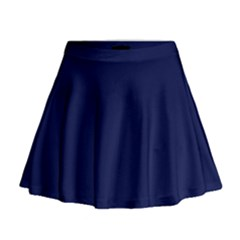Classic Navy Blue Solid Color Mini Flare Skirt