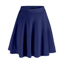 Classic Navy Blue Solid Color High Waist Skirt