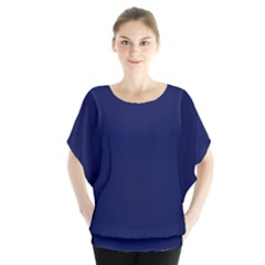 Classic Navy Blue Solid Color Blouse