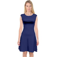 Classic Navy Blue Solid Color Capsleeve Midi Dress