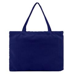 Classic Navy Blue Solid Color Medium Zipper Tote Bag