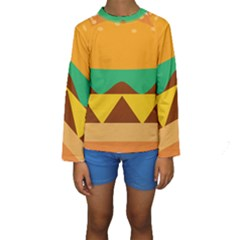 Hamburger Bread Food Cheese Kids  Long Sleeve Swimwear