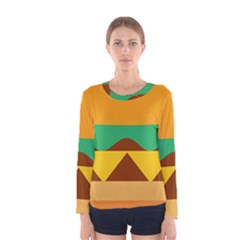Hamburger Bread Food Cheese Women s Long Sleeve Tee