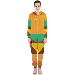 Hamburger Bread Food Cheese Hooded Jumpsuit (Ladies)
