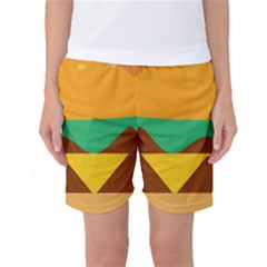 Hamburger Bread Food Cheese Women s Basketball Shorts