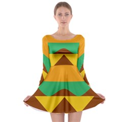 Hamburger Bread Food Cheese Long Sleeve Skater Dress