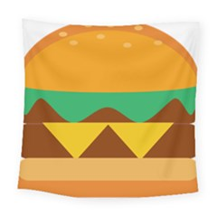 Hamburger Bread Food Cheese Square Tapestry (large)