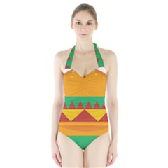 Burger Bread Food Cheese Vegetable Halter Swimsuit