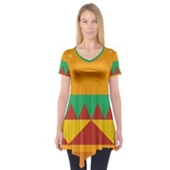 Burger Bread Food Cheese Vegetable Short Sleeve Tunic