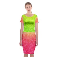 Colorful Abstract Triangles Pattern  Classic Short Sleeve Midi Dress