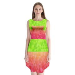 Colorful Abstract Triangles Pattern  Sleeveless Chiffon Dress