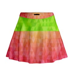 Colorful Abstract Triangles Pattern  Mini Flare Skirt