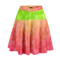 Colorful Abstract Triangles Pattern  High Waist Skirt
