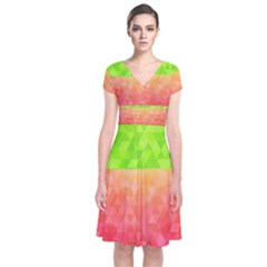 Colorful Abstract Triangles Pattern  Short Sleeve Front Wrap Dress