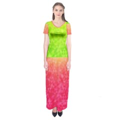 Colorful Abstract Triangles Pattern  Short Sleeve Maxi Dress