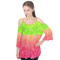 Colorful Abstract Triangles Pattern  Flutter Tees