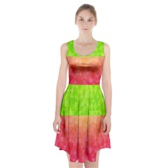 Colorful Abstract Triangles Pattern  Racerback Midi Dress