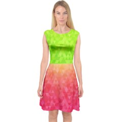 Colorful Abstract Triangles Pattern  Capsleeve Midi Dress