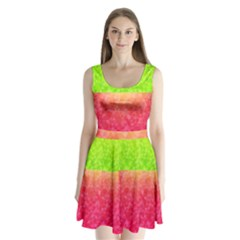 Colorful Abstract Triangles Pattern  Split Back Mini Dress